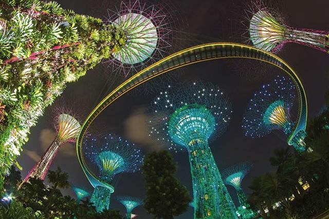 シンガポールのガーデンバイザベイ夜景